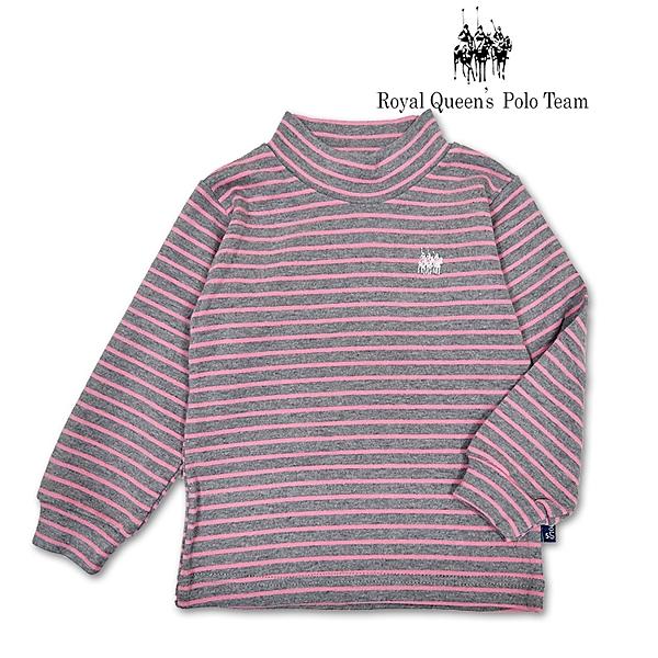 台灣製套頭高領長粉色條紋上衣 [6608] RQ POLO 秋冬 童裝