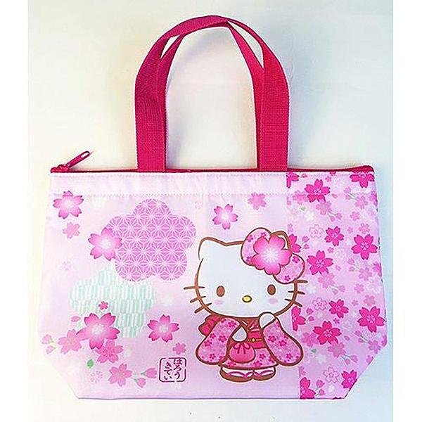 【凱蒂貓櫻花便當袋】凱蒂貓 櫻花 便當袋 手提袋 保溫 日本正版 該該貝比日本精品 ☆