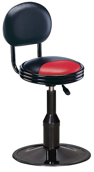 【IS空間美學】紅黑圓椅背低吧檯椅