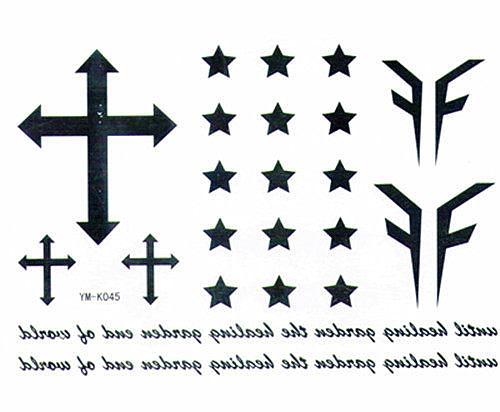 薇嘉雅  十字五角星 紋身貼紙 k-045