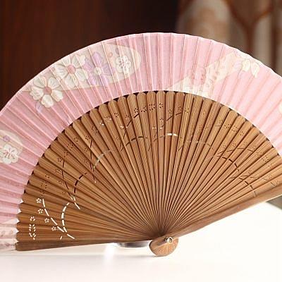 【珍藏和服扇】粉底櫻花 棕