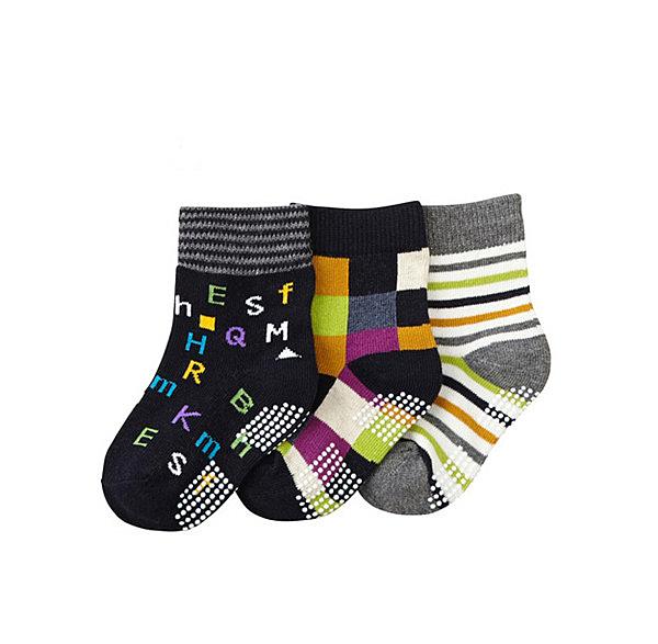 【韓風童品】(3雙/組)男童棉質襪 點膠防滑襪 男童短襪 嬰幼兒襪子 格子條紋字母圖案