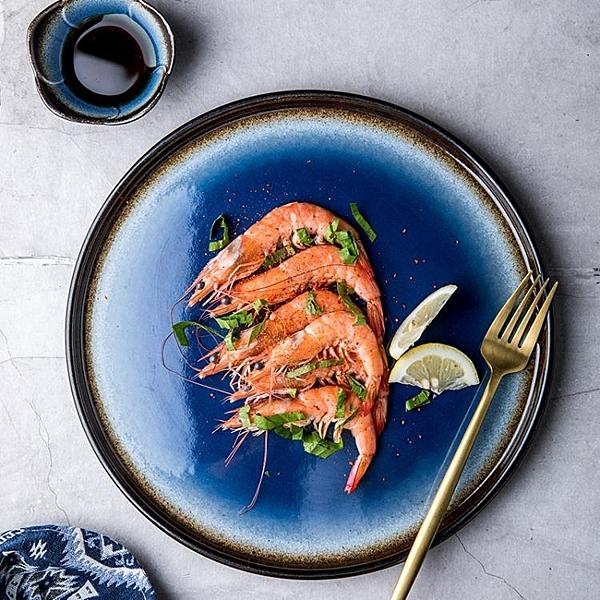 創意北歐盤子 藍色圓形平盤 家用陶瓷碟子菜盤西餐盤意面盤牛排盤 喜迎新春