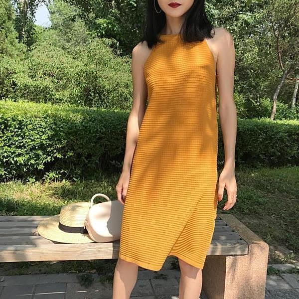 [超豐國際]夏季寬松純色圓領針織背心裙百搭顯瘦中長款氣質連衣1入