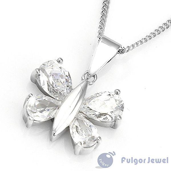 FU銀飾意大利流行飾品 生日情人節禮贈品 亮晶蝶形925純銀項鍊【Fulgor Jewel】