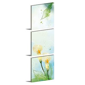 24mama掛畫-三聯式 海芋 花卉無框畫 40x40cm