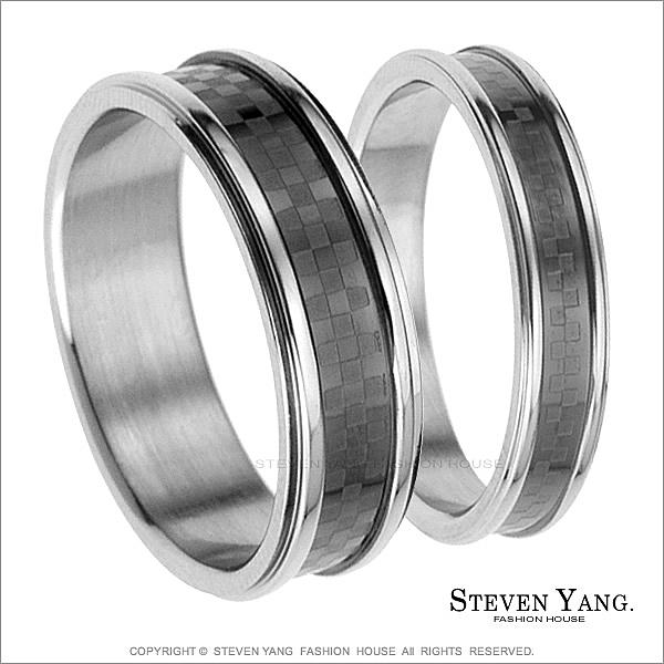 情侶對戒 西德鋼戒指 格紋系列「鍾情一生」單個價格*