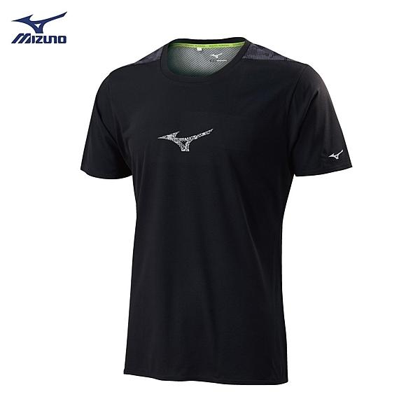 MIZUNO 男裝 上衣 短袖 T恤 路跑 慢跑 吸汗 快乾 後背拼接 黑【運動世界】J2TA900109