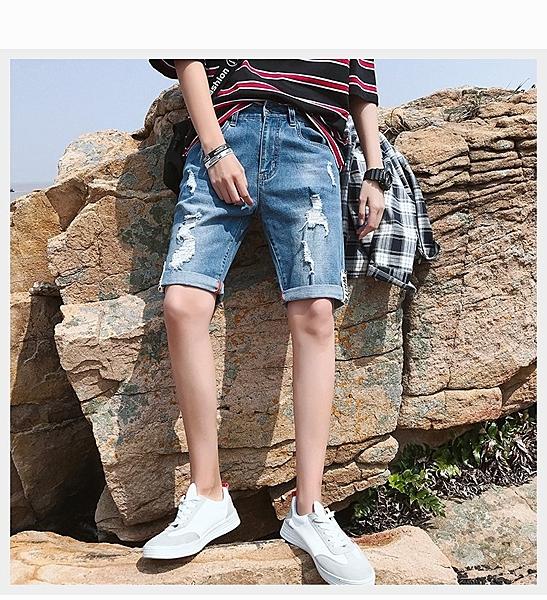 FINDSENSE H1 2018 夏季 清新 藍色牛仔褲  水洗牛仔褲 短褲