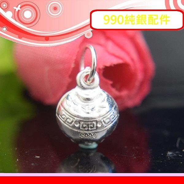 銀鏡DIY S990純銀材料配件/元寶滿溢~立體亮面招財聚寶盆小吊墜E~適合手作巴西蠟線/幸運繩(非合金)