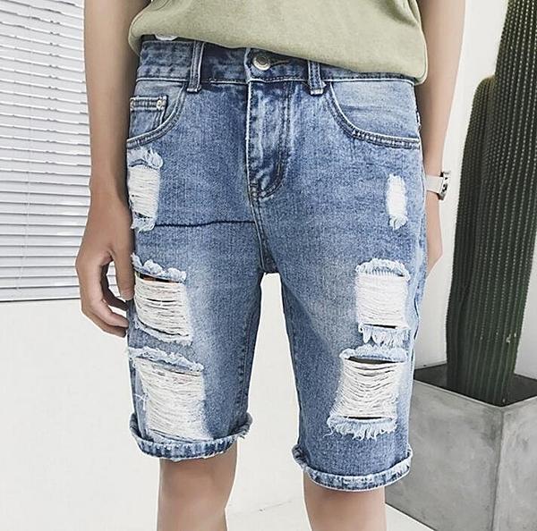 FINDSENSE品牌 男 潮 街頭時尚 休閒 破洞 短褲 牛仔短褲