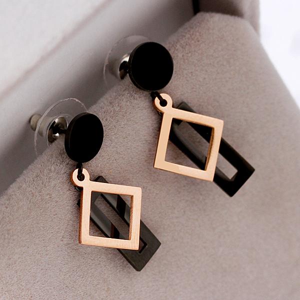 歐美幾何方形長條鈦鋼鍍玫瑰金耳環女韓國氣質簡約耳釘防過敏飾品 滿天星