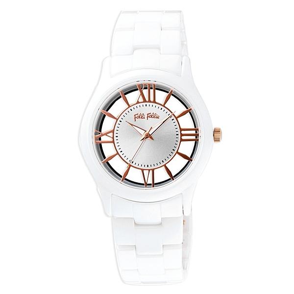 Folli Follie 閃耀光芒鏤空陶瓷腕錶-白