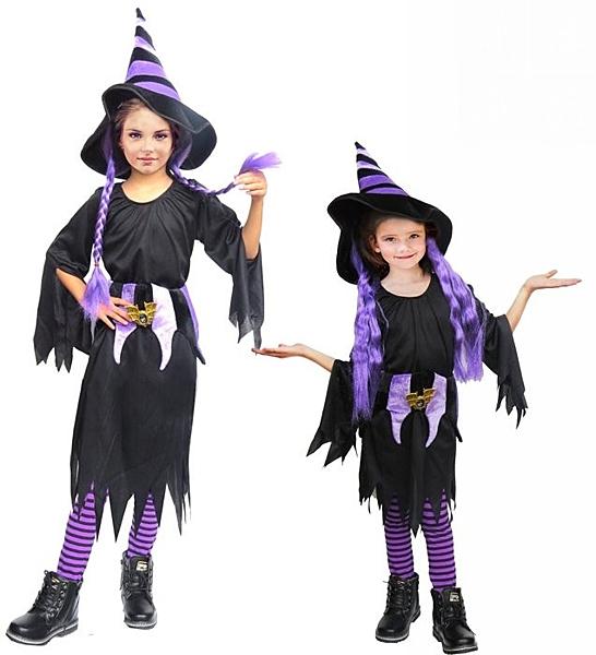 兒童長髮魔女親子裝大人+小孩台灣製造-紫 萬聖節服裝造型裝扮服聖誕舞會派對洋裝巫婆裝