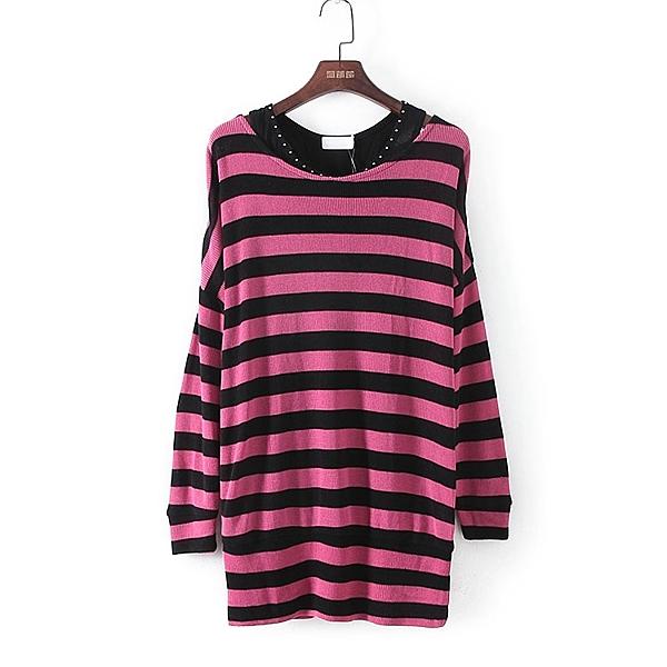 [超豐國際]好春秋裝女裝枚紅色條紋套衫針織衫 33475(1入)