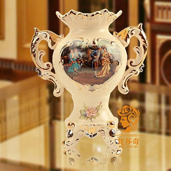 歐式宮廷人物家居陶瓷花瓶