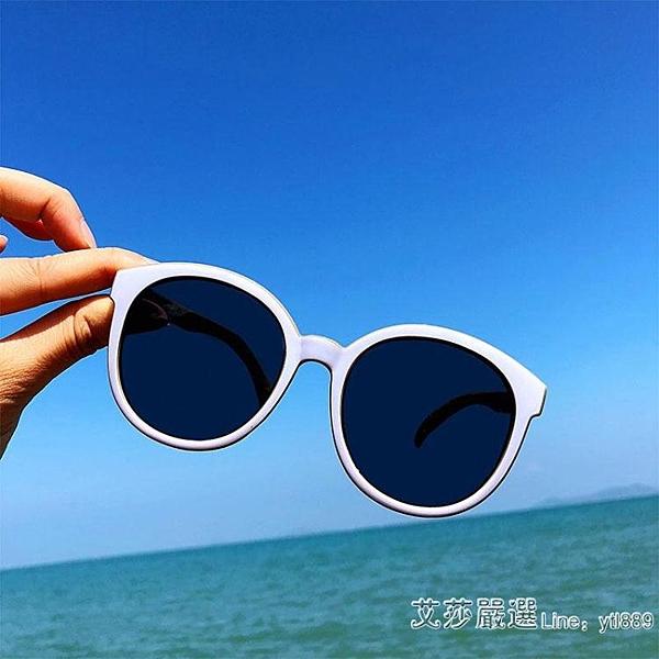 太陽鏡潮沙灘復古經典白色墨鏡框圓臉顯瘦女 【新年優惠】