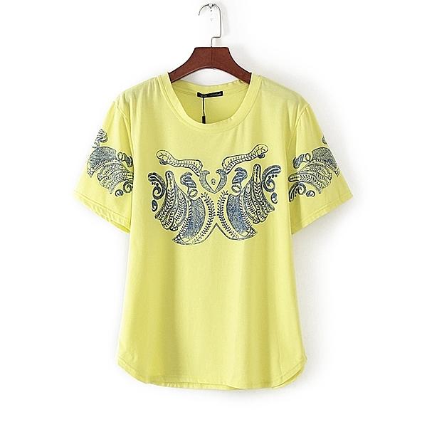 [超豐國際]娃春夏裝女裝黃色時尚休閑舒適百搭短袖T恤 310(1入)