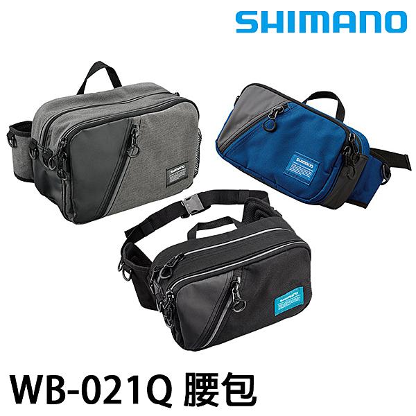 漁拓釣具 SHIMANO WB-021Q 黑/灰/藍 #M [腰包]
