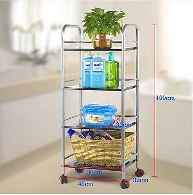心家宜 廚房置物架收納架多功能金屬層架儲物架隔板整理架(經典黑40 32 100CM)