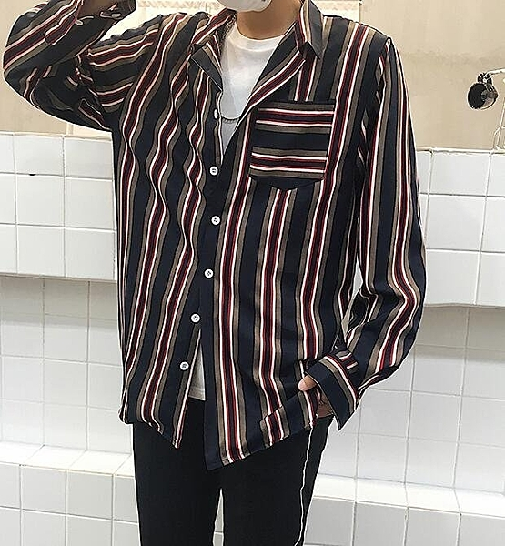 FINDSENSE Z1 韓國 時尚 潮 男 複古 翻領 寬鬆 寬條紋 長袖襯衫