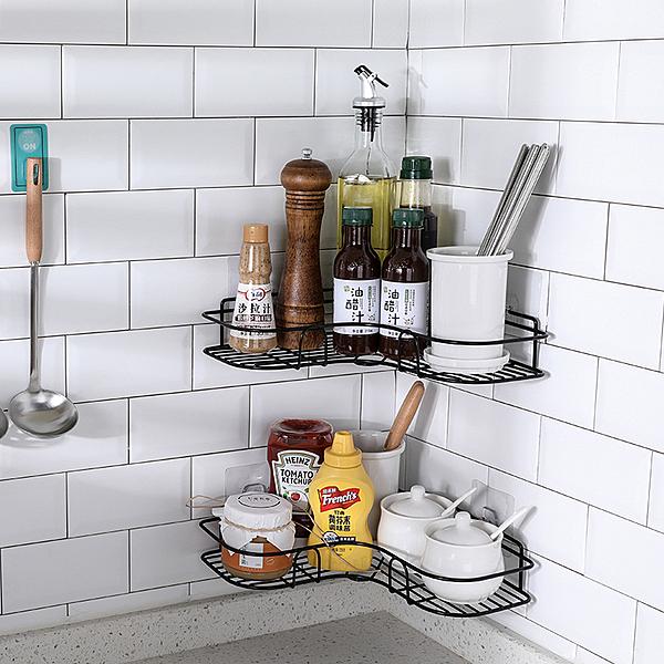 免打孔廚房收納架壁掛式三角形調味料收納架省空間轉角牆上置物架 店慶降價