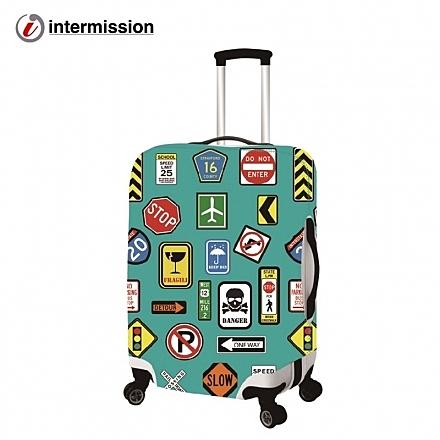 【Intermission】LCS346旅行標誌 M號22-26吋日版彈力拉桿箱保護套 行李箱套