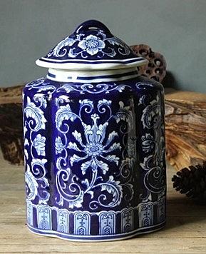 【協貿國際】景德鎮青花瓷罐手繪出口歐美陶瓷裝飾罐