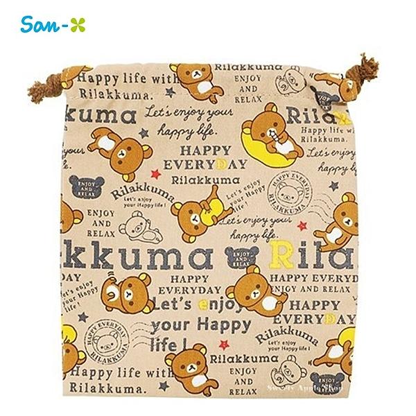 日本限定 拉拉熊 滿版英字 束口袋 / 收納袋