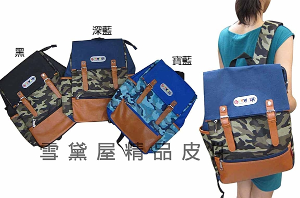 ~雪黛屋~SPYWALK後背包防水尼龍布+皮革材質可放A4資料夾學院風格二方向主袋口設計 014-22962