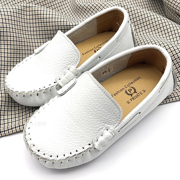 《7+1童鞋》普萊米PRVITE 真皮 休閒鞋 懶人鞋 輕便鞋 豆豆鞋 E544 白色
