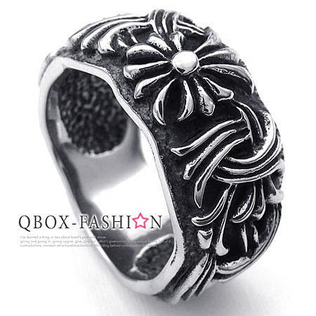 《 QBOX 》FASHION 飾品【R10022606】精緻個性仿舊克羅心十字架鑄造鈦鋼戒指/戒環
