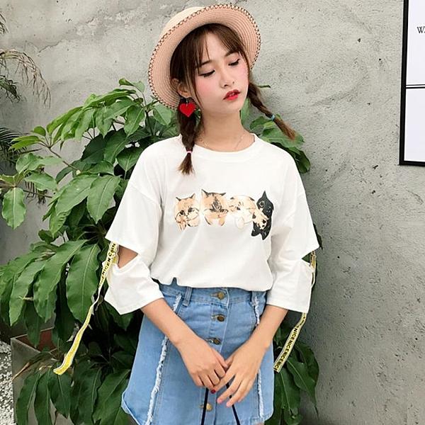 [超豐國際]夏季卡通貓咪印花寬松T恤女裝五分袖鏤空學生上1入