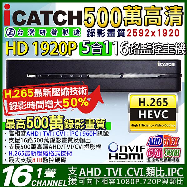 監視器可取ICATCH H.265 16路DVR 500萬 5MP AHD 監視器主機 4K 1080P 4MP/1080P/720P/960H 台灣安防