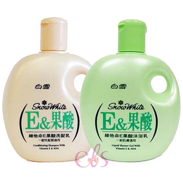 白雪 E果酸 洗髮乳 蜜桃香 / 沐浴乳 蘋果香 400ml 二款供選 ☆艾莉莎ELS☆