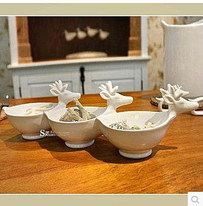 陶瓷鹿頭3格乾果碟-RE554