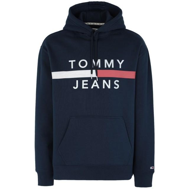 《セール開催中》TOMMY JEANS メンズ スウェットシャツ ダークブルー S コットン 56% / ポリエステル 44% TJM REFLECTIVE FLAG