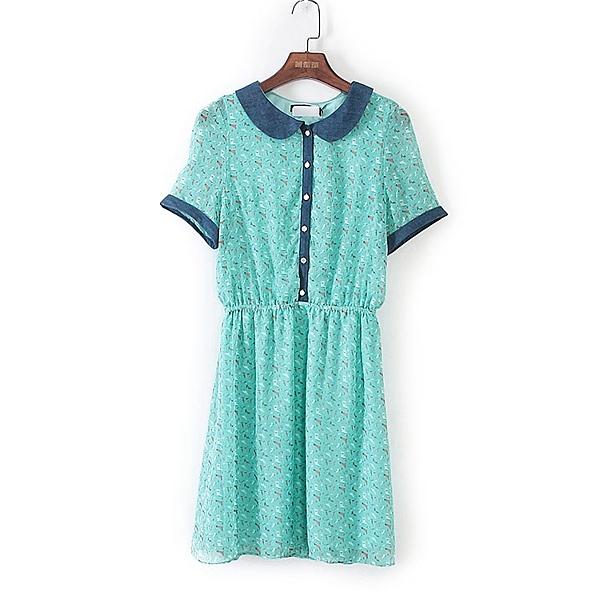 [超豐國際]U春夏裝女裝綠色收腰娃娃領連衣裙 40933(1入)