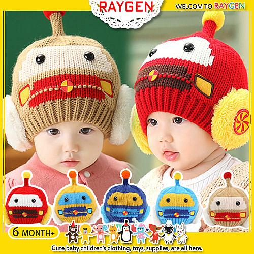 帽子 機器人 造型 針織 嬰兒 保暖 毛線帽 護耳帽