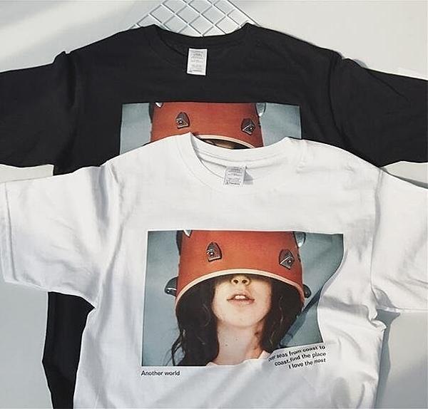 FINDSENSE品牌 時尚潮流 男 寬鬆 休閒 女人頭像 短袖T恤 圓領T恤