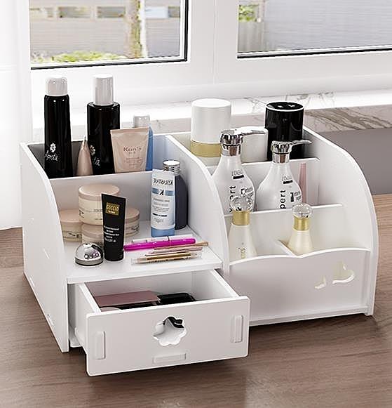 收納盒 桌面化妝品收納盒木制迷你梳妝台收納盒簡約護膚品整理置物架家用 艾維朵
