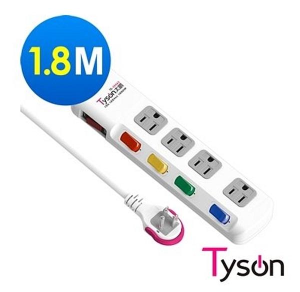 新竹【超人3C】 Tyson太順電業 TS-354AS 3孔5切4座延長線 插座 拉環扁插 1.8米
