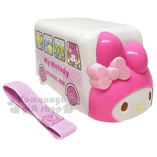 〔小禮堂〕美樂蒂 巴士造型雙層便當盒附束帶《粉白》保鮮盒.食物盒 4973307-43635