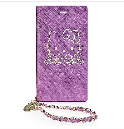 King*Shop~GARMMA Hello Kitty iPhone 7/6S/6 4.7吋側掀式摺疊皮套-金典紫