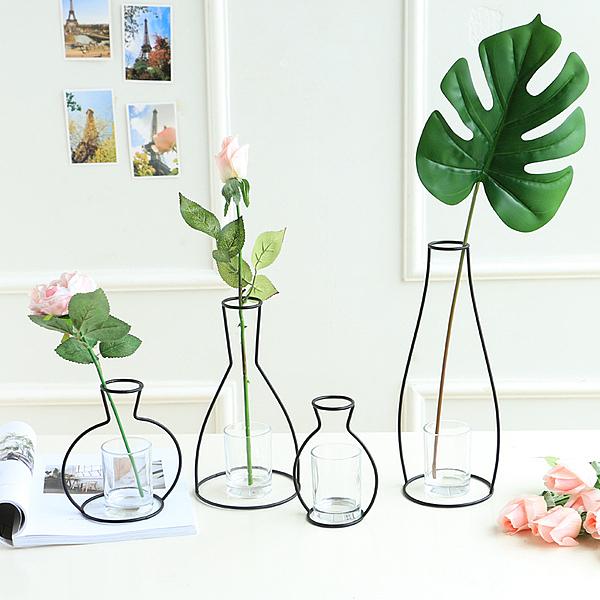 極簡風黑色線條北歐抽象鐵藝造型花瓶幹花插花器家居裝飾擺件─預購CH1919