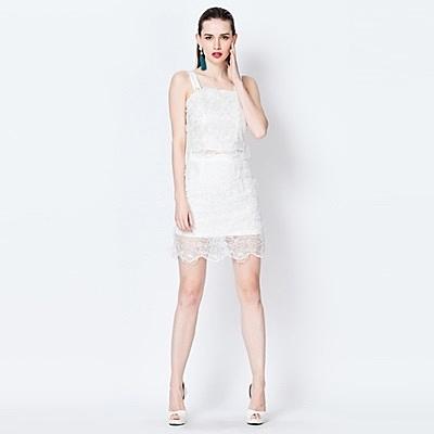 吊帶無袖上衣+短裙(兩件套)-優雅蕾絲新款春裝女裙裝73lk10[巴黎精品]