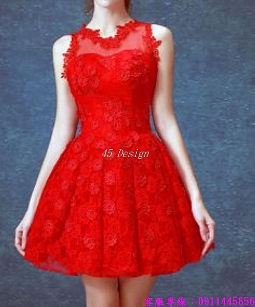 (45 Design) 訂製款 7天到貨洋裝 短禮服 蕾絲背心裙 繡花修身無袖 連身裙 小禮服10