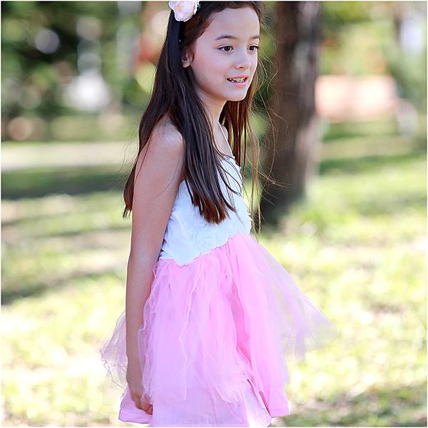 細肩帶洋裝 花朵吊帶裙 女童 洋裙 連身裙 連衣裙 Augelute 42152