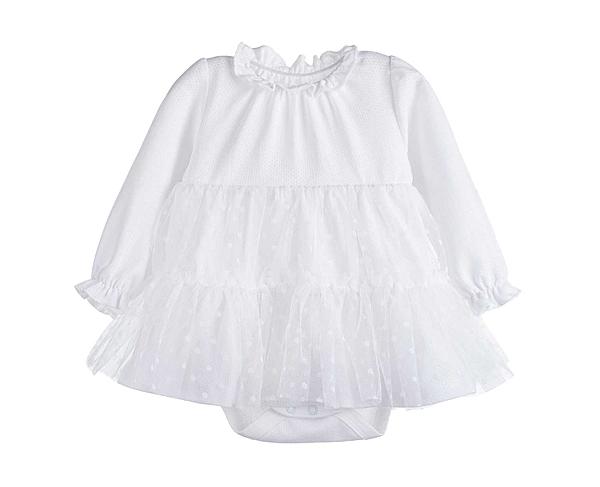 女寶寶長袖洋裝 網紗公主裙擺包屁裙 白 | 韓版童裝 (嬰幼兒/兒童/小孩)
