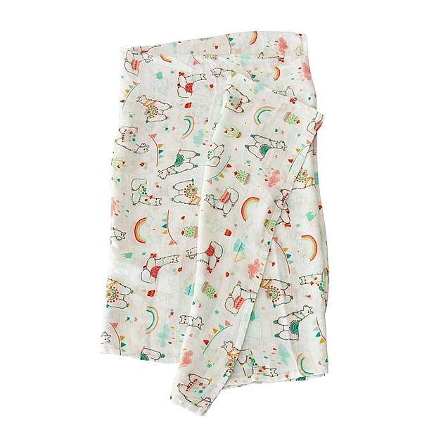 加拿大Loulou lollipop 竹纖維透氣包巾禮盒款 - 彩虹草泥馬